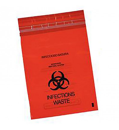 6x6 RED BIOHAZARD STICK ON BAGS-200/BX